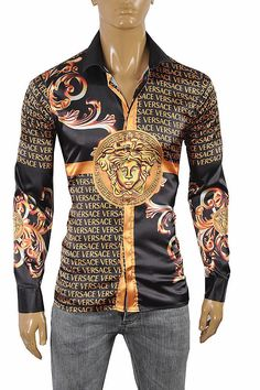 Long Sleeve Regular Size Dress Shirts for Men Dress Shirt for sale Versace Silk Shirt, Versace Shirts, Versace Dress, Versace Men, Gucci Men, Mens Fashion Wear, Moda Fashion, Xl Fashion, Mens Designer Shirts