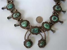OLD-BIG-Navajo-Squash-Blossom-Necklace-Sterling-Silver-Turquoise-296-g-Pawn