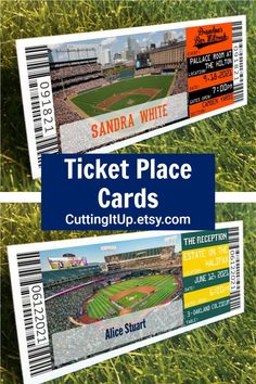 Tell your guests where they're sitting with your very own place card tickets. You can theme your tables after Sections, Players, Stadiums, Teams or anything else you'd like, it's entirely up to you! #placecards #baseball #baseballtheme #tickets #diytemplate #weddingplanning Softball Wedding, Sports Wedding, Ticket Invitation, Invitations, Wedding Sitting Plan, Camden Yards, Wedding Planning, Wedding Ideas, Save The Date Magnets