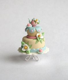 Miniature Whimsical Tiered Tea Set Cake on Whimsy Pedestal  OOAK by C. Rohal on Etsy, $65.00