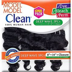 Model Model Clean 100% Human Hair Weave DEEP WAVE 5 PCS 8-14 (1 Pack Solution)