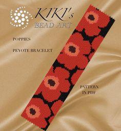 Pattern, peyote bracelet - Poppies peyote bracelet pattern in PDF - instant download