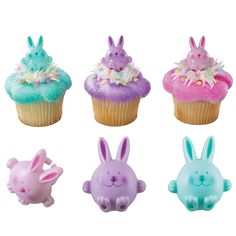 Round Rabbit Cupcake Picks & Rings (12) :   Decorate cakes, cupcakes and more with these cupcake picks which double up as toy rings!