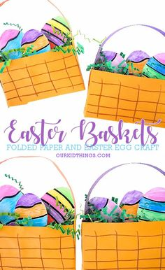 A sheet of paper turns into an Easter basket with our Folded Paper Easter Baskets! Then decorate some Easter eggs to fill! Holiday Crafts For Kids, Easter Art, Bunny Crafts, Crafts For Kids To Make, Easter Crafts For Kids, Toddler Crafts, Easter Food, Easter Ideas, Homemade Easter Baskets