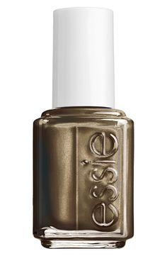 Essie Armed & Ready Nail Lacquer | an outfitted army green with pearl. | march onto the scene in this perfectly outfitted army green nail polish. pearl iridescence adds a golden halo to this khaki lacquer. pair it with a military jacket for a commanding look.