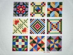 """Cross stitched """"quilt squares"""" - double cute!"""
