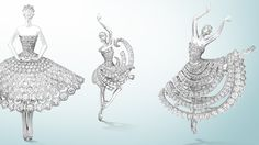 Three unique ballerina clips in white gold and diamonds Image 2 - Van Cleef & Arpels