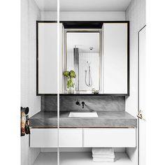 White. Black. Grey. Restrained bathroom design   Bathroom from @flackstudio   Repost @reallivingmag   #reallivingmag #reallivingloves #inspiration #bathroom #black #grey #white #bathroomdesigns #bathroomideas #bathroominspiration by mode_living Bathroom designs.
