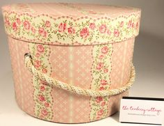 Large Hat Box in Pink Cream Ready to ship by TheTeaberryCottage