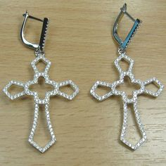 Brilliant Cut White CZ 925 Sterling Silver Long Hoop Cross Earring
