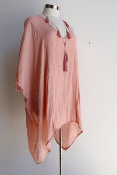 Plus size light + floaty long neutral Summer beach kaftan top with V-neck and elbow-length sleeves. Blush Pink.