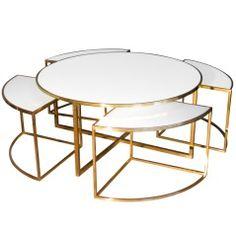 Brass & Glass Coffee Table w/ Four Nesting Tables Set