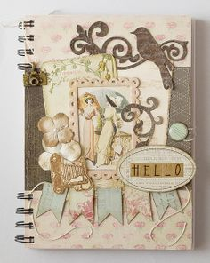 Little Scrap World: Cuaderno rosa / Pink notebook Mini Scrapbook Albums, Vintage Tags, Handmade Books, Altered Books, Junk Journal, My Works, Decoupage, Vintage World Maps, Shabby
