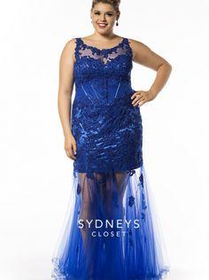 2016 sydney\'s closet Sexy Blue Corseted Plus Size Prom Dress SC7160