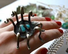 Silver Bisbee Blue Turquoise Spider Ring