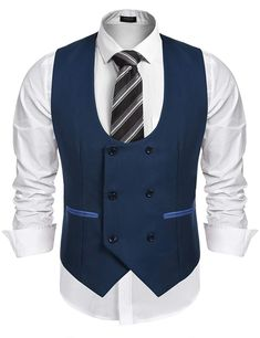 Coofandy Mens Slim Fit Dress Suits Double Breasted Solid Vest Waistcoat -- Check out this great product. (This is an affiliate link) Dress Suits, Men Dress, Dress Vest, Mens Evening Wear, Traje Casual, Suit Fashion, Mens Fashion, Waistcoat Men, Down Suit
