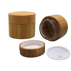 Cosmetic Cream Pack Clear Glass Jar Makup Sample Containers Pots Lotion Face Cream Storage Bottles With Bamboo Body And Lids Glass Jars, Clear Glass, Face Lotion, Eye Shadows, Wall Mounted Tv, Camera Case, Eyeshadow Makeup, Aromatherapy, Bamboo