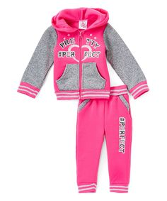 Look at this #zulilyfind! Real Love Pink '#Perfect' Fleece Hoodie & Joggers - Infant, Toddler & Girls by Real Love #zulilyfinds
