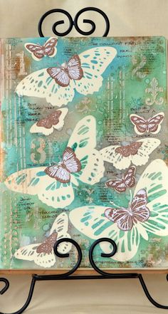 Sharing an art journal page using BoBunny stamps and stencils! ;-)
