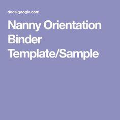 nanny orientation binder templatesample