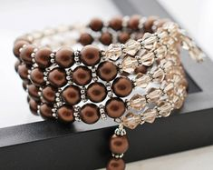 Reserved for Lisa, Brown Pearl Bracelet, Wrap Bracelet, Brown Bracelet, Memory W. Memory Wire Jewelry, Memory Wire Bracelets, Cute Bracelets, Beaded Bracelets, Making Bracelets, Jewelry Making Beads, Beaded Jewelry, Handmade Jewelry, Jewellery Making
