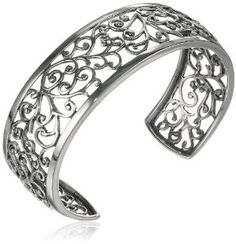 This sterling silver cuff bracelet showcases a gorgeous vine motif openwork design. Polished and oxidized silver add depth and interest to the pattern. Filigree Jewelry, Sterling Silver Filigree, Sterling Silver Cuff Bracelet, Silver Jewelry, Metal Jewelry, Silver Ring, Oxidized Silver, Silver Bangles, Silver Earrings
