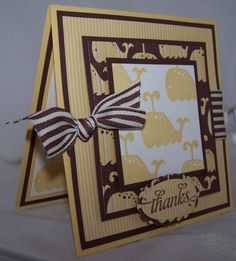 FS155 Whale Thanks-Stamps: Animal Stories, Thank You Kindly Paper: So Saffron, Chocolate Chip, Whisper White, Tall Tales DSP Ink: So Saffron, Chocolate Chip Accessories: Chocolate Chip ribbon, Oval and scalloped Oval punches Techniques: Simple stamping   Read more: http://www.splitcoaststampers.com/gallery/photo/1601227#ixzz3Aej2yXs1