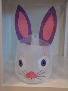 Handmade easter basket out of a gallon jug