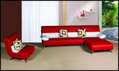 Kensington Red and White Leather Chaise Sectional
