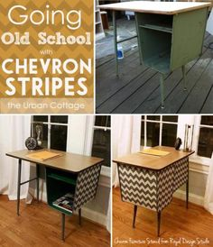 Painted Chevron Stripes transform a vintage metal school design of a school desk into a Mid-Century marvel with the help of Chevron Stripes Furniture Stencil Diy Furniture Easy, Paint Furniture, Furniture Projects, Furniture Making, Modern Furniture, Home Furniture, Antique Furniture, Diy Projects, Desk Makeover