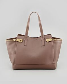 Verve Light Zip-Side Tote Bag, Taupe by Salvatore Ferragamo at Neiman Marcus.