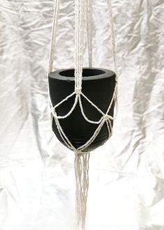 Small diy concrete pot with a single macrame Concrete Pots, Plant Hanger, Macrame
