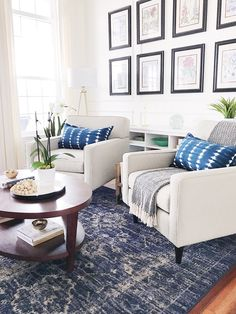 Decorating with blue in the living room-indigo shibori pillows with blue vintage distressed rug