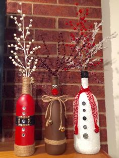 Christmas wine bottle vases by on etsy. Christmas Projects, Holiday Crafts, Christmas Diy, Homemade Christmas, Christmas Vases, Christmas Quotes, Country Christmas, Christmas Snowman, Fun Projects