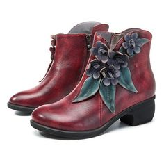 Socofy SOCOFY Sooo Comfy Vintage Handmade Floral Ankle Leather Boots is hot-sale. Come to NewChic to buy womens boots online Mobile. Leotard Fashion, Unique Shoes, Boots Online, Cool Boots, Latest Fashion Trends, Sneakers Fashion, Leather Boots, Knee Boots, Ankle