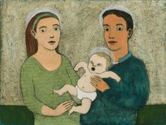 A Holy Family with an Angry Baby by Brian Kershisnik #UtahArtist #art