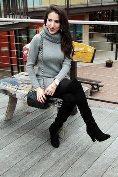 Grey Sweater Dress and over the knee boots!