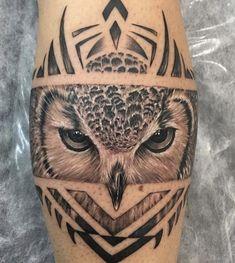 Owl Neck Tattoo, Mens Owl Tattoo, Cuff Tattoo, Neck Tattoo For Guys, Arm Band Tattoo, Tattoos For Guys, Band Tattoo Designs, Owl Tattoo Design, Forearm Tattoo Design