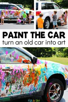 Turn an old car into a work of art this summer! What an amazing summer art project for the kids. Perfect for a preschool summer camp or just because. Preschool Teacher Tips, Summer Preschool Activities, Early Learning Activities, Creative Activities For Kids, Outdoor Activities For Kids, Preschool Lesson Plans, Outdoor Learning, Creative Kids, Summer Art Projects