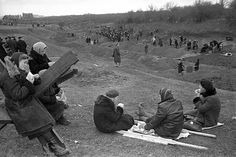 Defence of Moscow. Residents of the city of Moscow for the construction of defensive structures. Moscow. October 1941