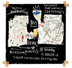 """Jean-Michel Basquiat, """"A Panel of Experts"""" (1982), acrylic and oil paintstick and paper collage on canvas with exposed wood supports and twine, 152.4 x 152.4 cm, Montreal Museum of Fine Arts Gift of Ira Young (© Estate of Jean-Michel Basquiat / SODRAC [2014],  licensed by Artestar, New York)"""