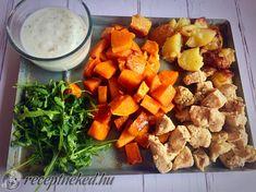 Édesburgonyás csirke rukkolával és fokhagymás mártogatóssal Sweet Potato, Paleo, Potatoes, Vegetables, Recipes, Food, Potato, Recipies, Essen