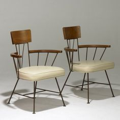 Paul McCobb Attributed, Enameled Metal and Wood Armchairs, 1950s. Wish List for future home.