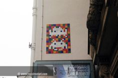 """Quote from Wikipedia: """"The locations for the mosaics are not random, but are chosen according to diverse criteria, which may be aesthetic, strategic or conceptual. http://www.paristreetart.com/2013/05/alias-invader-space-invader.html  #paris #streetart #invader #spaceinvader"""