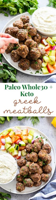 These easy greek meatballs are perfectly flavorful and delicious dipped in a dairy-free paleo Tzatziki sauce! Great as an appetizer or as part of a meal over a greek salad. Paleo and keto friendly. These easy greek mea Tzatziki Sauce, Paleo Recipes, Real Food Recipes, Cooking Recipes, Ketogenic Recipes, Crockpot Recipes, Easy Recipes, Paleo Whole 30, Whole 30 Recipes