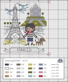 O Blog da DMC: Viagem pela Europa com a DMC – Paris Dmc Cross Stitch, Cross Stitch House, Cross Stitch Boards, Cross Stitching, Cross Stitch Embroidery, Cross Stitch Designs, Cross Stitch Patterns, Cross Stitch Landscape, Zoom Zoom