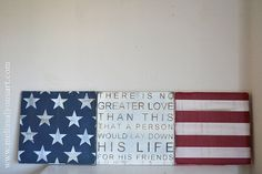 no greater love flag set rustic wood sign - great gift for military service men/women