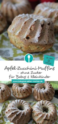 Apple and zucchini muffins for babies - without sugar- Apfel-Zucchini-Muffins für Babys – ohne Zucker So juicy: delicious and healthy apple-zucchini muffins without sugar for babies and toddlers. Simple Muffin Recipe, Healthy Muffin Recipes, Healthy Muffins, Donut Recipes, Baby Food Recipes, Asian Desserts, Easy Desserts, Dessert Recipes, Zucchini Muffins