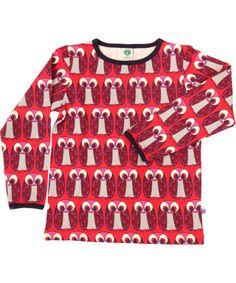 Småfolk beautiful red t-shirt with funny owls. smafolk.en.emilea.be
