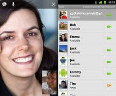This is an example of somebody using an android based video chatting feature on their phone. It appears similar to other platforms in terms of contacts and information, and is the Androids take on video communication.